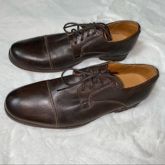 Bed Stu Mens Cap Toe Lace Oxfords Dark Brown Shoes